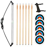 TOPARCHERY Junior Compound Bow Archery Bow and Arrow Set 8 Lb Archery Beginner Gift with Fiberglass Arrows for Teen Kids Children (Black-Type 4)
