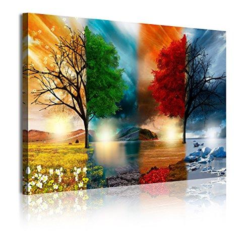 DekoArte 320 - Cuadros Modernos Impresión de Imagen Artística Digitalizada | Lienzo Decorativo Para Tu Salón o Dormitorio | Estilo Paisaje Cuatro Estaciones del año Árboles Rojo | 1 Pieza 120 x 80 cm