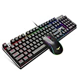 Havit Mechanical Gaming Keyboard and Mouse Combo Blue Switch 104 Keys Rainbow Backlit Keyboards, 4800 Dots Per Inch 7 Button Mouse Wired for PC Gamer Computer Laptop