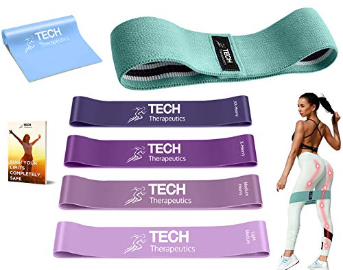 Tech Therapeutics Bande Elastici Fitness Fasce Elastiche– Kit Completo Palestra In Casa - 4 Loop Bands – 1 Banda Elastica Di Resistenza In Tessuto – 1 Banda Elastica Aperta In Lattice + E-Book Incluso