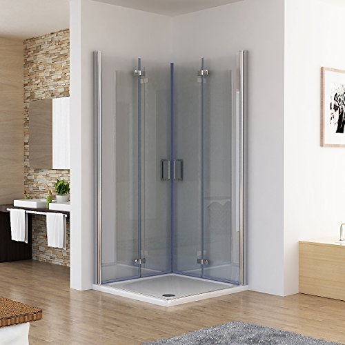 Duschkabine 120x90 Eckeinstieg Dusche Doppel Falttür 180º Duschabtrennung NANO Glas DAF129
