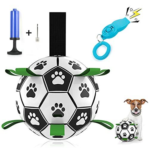 WeChip Hundespielzeug Ball,Fußballball mit Greiflaschen, Interaktives Hundeball Hund Wasserspielzeug Fußball Hund Zerrspielzeug Hund,mit Ballpumpe und Nadel und Trainingspfeife mit Clicker.