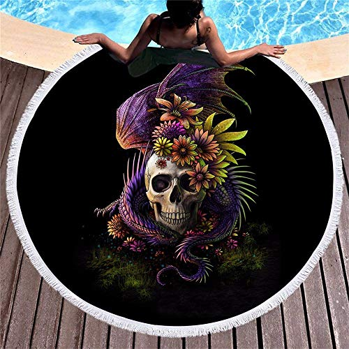 WYJW Creatieve buitenaardse schedel bekleed strand handdoek/ronde stof print picknick tapijt/sjaal yoga picknick sjaal rok/bikini wrap envelop, A1, 150 * 150cm 150 * 150CM A1
