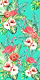 Flamingos and Flowers Velour Brazilian Beach Towel 30x60 Inches