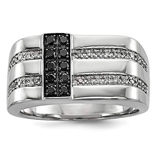 Plata de ley con chapado en rodio color negro y blanco anillo de diamantes en bruto - tamaño V 1/2 - JewelryWeb