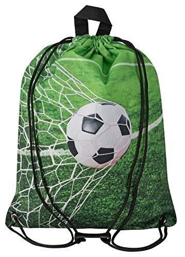 Aminata BALANCE Turnbeutel Kinder Jungen Fußball-Motiv 34x43-cm Sport-Wäsche-Beutel für Kita aus Nylon, reflektierend & wasserabweisend grün