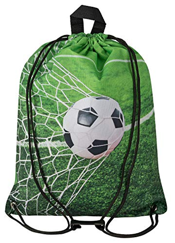 Aminata Kids Fussball Turnbeutel für Kinder aus Nylon, reflektierend & wasserabweisend - unser Kindergarten Sportbeutel mit Ball-Motiv hat verstärkte Nähte und einen Brustclip