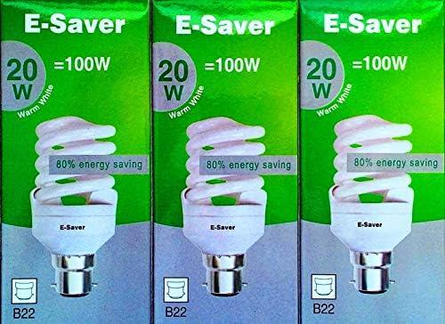 E-Saver - CFL Full Spiral - Energy Saving Light Bulbs - 20w = 100 Watt - (Pack of 3) - Warm White 2700k - Bayonet Cap (BC- B22- B22d)