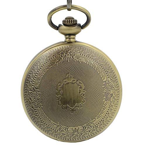 XJJZS Reloj de Bolsillo mecánico Antiguo Lucky Dragon & Phoenix Black Skeleton Dial Roman Numberals con Cadena + Caja de Regalo
