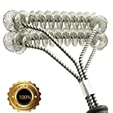 Grill Brush Bristle Free- BBQ Grill Cleaning Brush And Scraper- Safe 18' Weber Grill Cleaning Kit for Stainless Steel, Ceramic, Iron, Gas & Porcelain Barbecue Grates