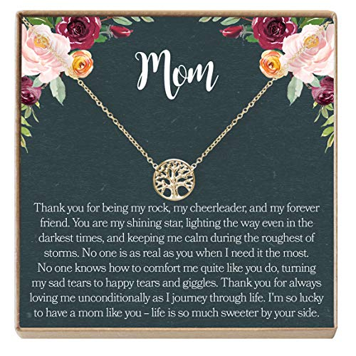 Dear Ava Mom Gift Necklace: Mother Necklace, Necklace, Mother Daughter, Tree (Gold-Plated-Brass, NA)