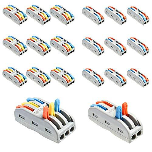 Jalan Conector de tuerca de palanca, 20 conectores de cable compactos de 2/3 puertos, kit de terminales de crimpado aislados surtidos
