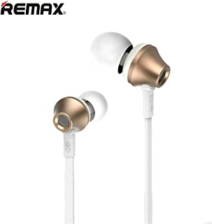 Remax RM-610D Portable Sport Stereo in-Ear with 3.5mm Jack Earbuds Hands-Free Earphone Headset for Smartphone (Gold,Length 47.2 Inches)