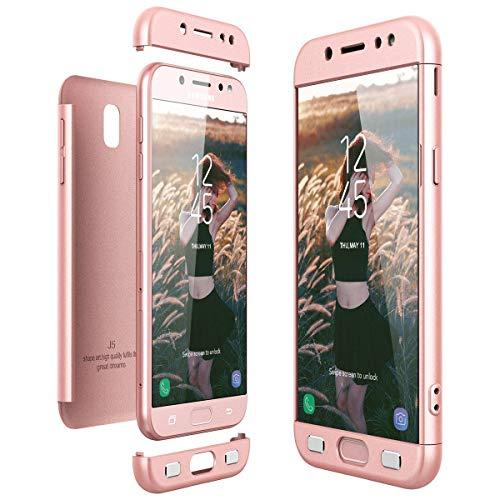 CaseFun Funda para Samsung S7 Carcasa Case, 3 en 1 PC 360 Grados Integral Antigolpes Protectora para Samsung Galaxy S7 Cover Oro Rosa