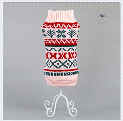 Tineer Pet Dog Sweater Ropa de Punto Copo de Nieve Pet Cat Coat, Jersey suéter Chaqueta Invierno Nieve Patrón Azulejos Ropa de Navidad (XS, Rosado)