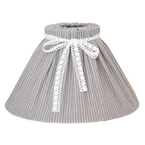 Großer Lampenschirm LINNEA grau weiß gestreift mit Schleife Tischlampe Hamptons E14 E27