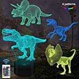 FULLOSUN Dinosaur Gifts, T-rex Dinosaur 3D Night Light for Kids (4 Patterns) with Remote Control & 16 Colors Changing & Dimmable Function & Gift GRAP, Xmas Birthday Gifts for Boy Girl