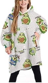 Manta con Capucha para niños, cómoda y cálida para Vestir para niños, niñas, niños, Jersey, Jersey, Albornoz, Pijama, Talla única para niños de 4 a 14 años
