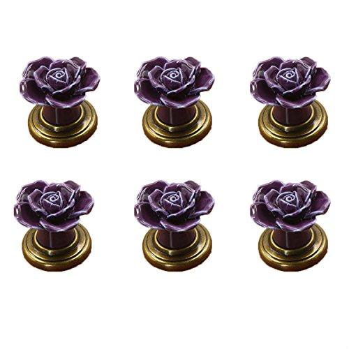 FBSHOP(TM) 6 STKS Paars Vintage Bloemen Rose Vorm Keramische Pull Handgrepen Keukenkast Kast Lade Meubels Dressoir slaapkamers Kledingkast Deurknoppen Met Messing Base