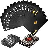 Maxstore Design Plastic Poker Cartas 100% Impermeable Juego de Mesa de Naipes de plástico Resistente a Las lágrimas, Cubierta Color Plata Negra