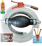 GasTapper Siphon Pump -Pro XL Fuel Hand Pumps for Gas, Diesel & Water w/ 8 Ft Hose, Anti-Kink Spring, Shut off Clip, Jiggler & Hose Retainer Clip