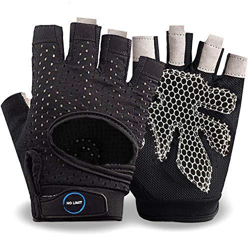 NoLimit® Fitness Handschuhe Trainingshandschuhe Sporthandschuhe für Damen u. Herren (Schwarz/Pink)