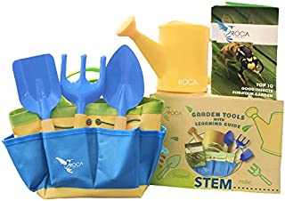 Kids Garden Tools with STEM Learning Guide by ROCA Toys. Tote Bag, Watering Can, Shovel, Rake and Trowel – Summer Toys