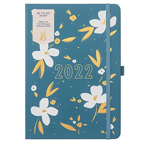 Busy B - Agenda To Do da gennaio a dicembre 2022 - Diario settimanale A5 blu disegno floreale, con note, liste a strappo e tasche