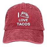 Jopath I Love Tacos-2 Gorra de béisbol lavada, retro, ajustable, clásico, para regalo de papá, para hombres y mujeres