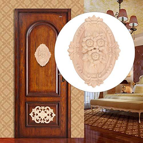 Cafopgrill wandlamp van hout, gesneden, bloem, gesneden, ovaal, onlay, wandlamp, sculptuur, decoratie, meubels