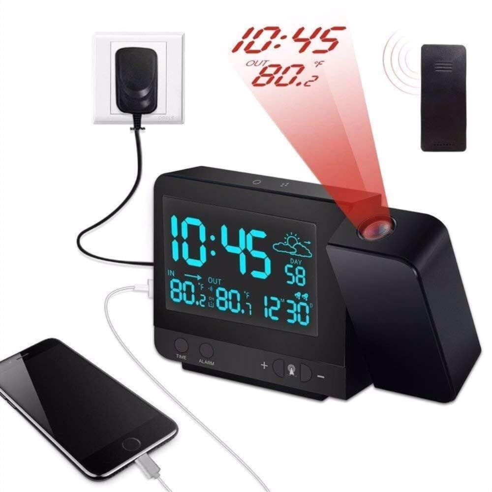 Projection Thermometer Hygrometer Colorful Backlight