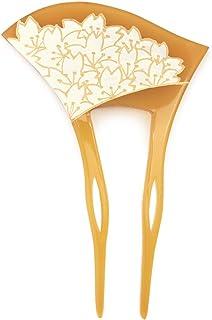 (ソウビエン) バチ型簪 べっ甲色 鼈甲色 べっこう色 桜づくし 花 二本足 髪飾り かんざし フォーマル ヘアアクセサリー 日本製