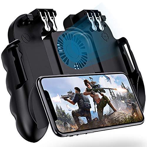4 Trigger Mobile Game Controller mit Lüfter kompatibel für PUBG/COD Mobile/Fortnite [6-Finger-Betrieb] L1R1 L2R2 Grip Gamepad Joystick Mobile Controller für iOS Android Phone