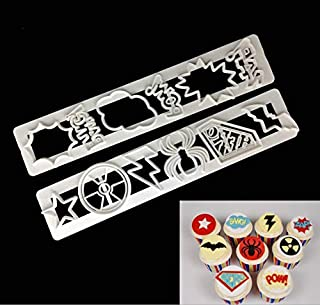 Astra Gourmet Set of 2 Superhero Cookie Cutters, Plastic Baking Fondant Cookie Molds Cake Embossed Mold Cake Decoration