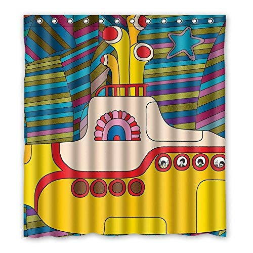 Setyserytu Duschvorhänge/Badvorhänge, Yellow Submarine Funny Art Decor Curtain