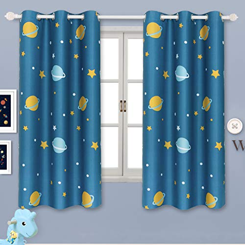 BGment Blackout Boy Curtains - Grommet Thermal Insulated Room Darkening Printed Star Planet Space Patterns Nursery and Kids Bedroom Curtains, Set of 2 Curtain Panels (42 x 63 Inch, Navy Blue)