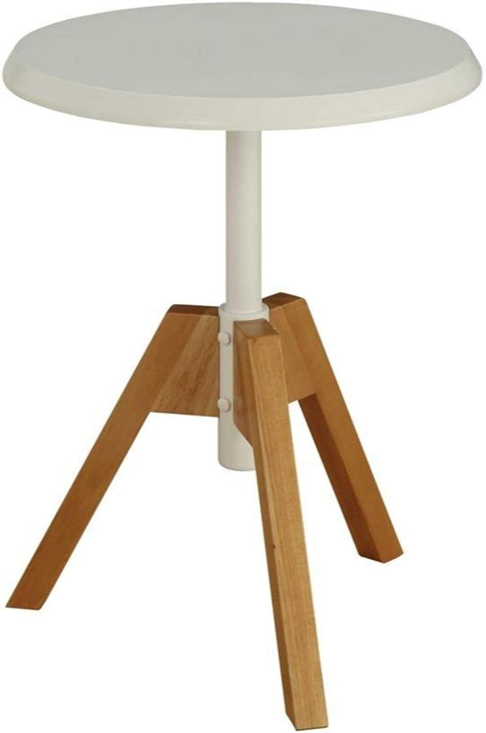 Benzara BM186943 Wooden End Table with Tripod Legs, Brown and White