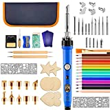 Wood Burning Kit - 80 PCS Wood Сarving Kit with Adjustable Temperature Pyrography Pen and Soldering Iron Tips for Art Projects of Adults Beginners - DIY Craft Supplies for Woodburning Embossing