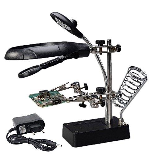 MEI XU Bildschirmlupe Helfende Hand Clip Clamp LED Lupe Lötkolben Standlupe Schweißen Rework Reparatur Halter Werkzeuge Größe: 170 X 120x 95mm