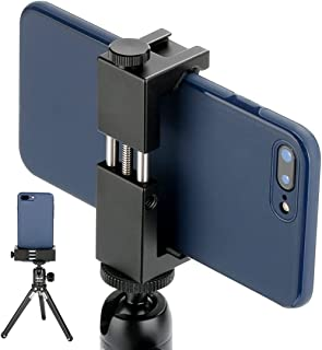 Metal Smartphone Tripod Mount with Cold Shoe Mount, Phone Tripod Holder Grip Rig Clip Compatible with Nexus Samsung iPhone...