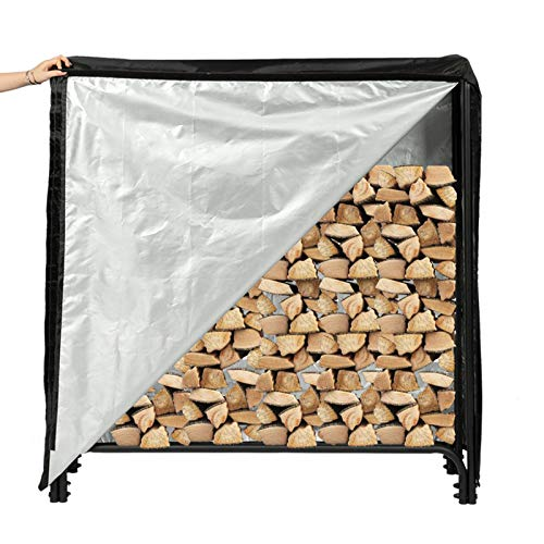 Goplus Foldable Firewood Log Rack, Wrought Iron Firewood Storage Carrier, Decorative Firewood Stove Stacker for Fireplace, Fire Pit, Indoor or Outdoor Use Decorative Wood Holder, Black
