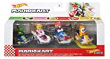 Hot Wheels Mario Kart Vehicle 4-Pack, Set of 4 Fan-Favorite Characters Includes 1 Exclusive Model, Collectible Gift for Kids & Fans Ages 3 Years Old & Up