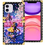 DISNEY COLLECTION iPhone 11 6.1 Inch 2019 Luxury Phone Case Belle Beauty and The Beast Dance Romantic Square Phone Cover Metal Decoration Corner Shockproof Phone Shell