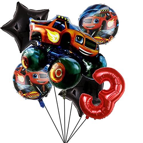 Globo de número Decoraciones de Fiesta Blaze Monster Machines de 32 Pulgadas Número Globo Fiesta de cumpleaños Boys Favors Regalos Baby Shower Suministros (Color : Set3)