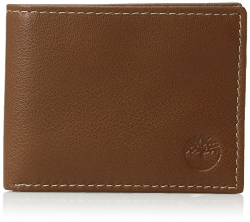Timberland Men's Blix Slimfold Leather Wallet, Tan, One Size