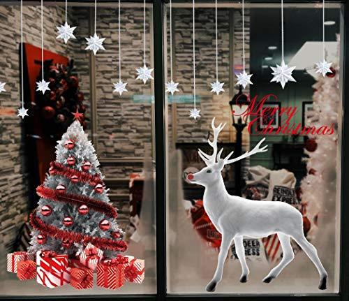Natale Vetrofanie Rimovibile Adesivi Murali da parete Fai da te PVC Finestra Decorazione Vetrina Sticker Fiocco di Neve Albero di buon Natale per casa negozi