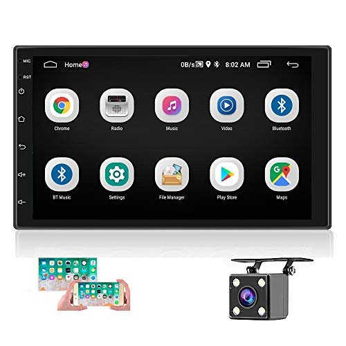 """Double Din Car Stereo with GPS 7"""" HD Touch Screen Bluetooth Car Radio Android9.0 in-Dash Car Video Audio Player with Navigation WiFi FM Radio Receiver Mirror Link with LED Lights Backup Camera"""
