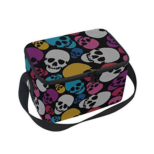 Ahomy Lunch Box Colorful Skull Sac à déjeuner Isotherme Sac fourre-Tout Isotherme pour l'extérieur, l'école, Le Bureau, Les boîtes à déjeuner Organisateur pour Enfants et Adultes