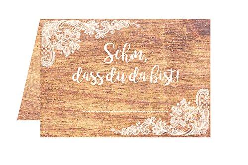 Edition Seidel Set 50 Premium Tischkarten Platzkarten Namenskarten Hochzeit - Geburtstag - Taufe - Kommunion - Konfirmation - Feier - Schön, DASS du da bist