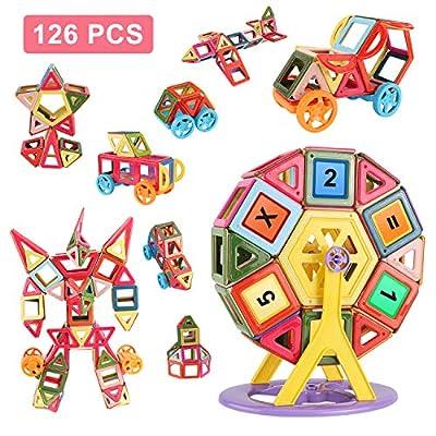 NATSUKAWA Magnetic Toys - Upgraded Magnetic Blocks for Kids Boys and Girls Preschool Toys Magnet Building Sets Magnetic Buliding Blocks Stem Toys 126 Pcs by NATSUKAWA